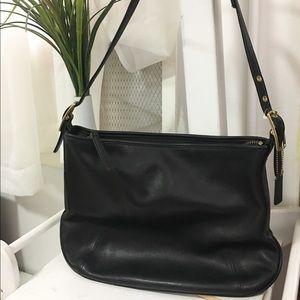 Used / coach black leather hobo bag